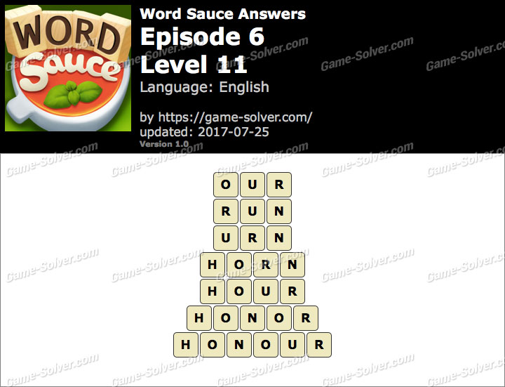 Word Sauce Episode 6-Level 11 Answers