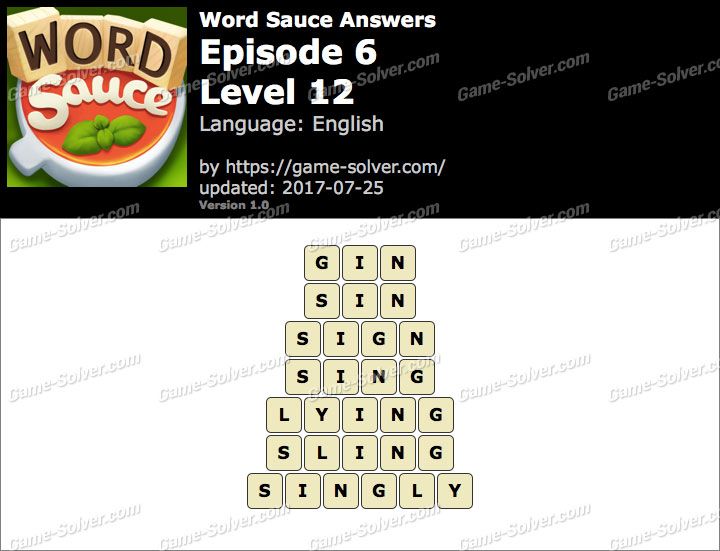Word Sauce Episode 6-Level 12 Answers
