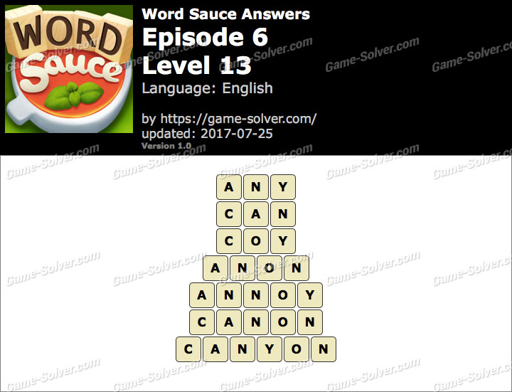Word Sauce Episode 6-Level 13 Answers