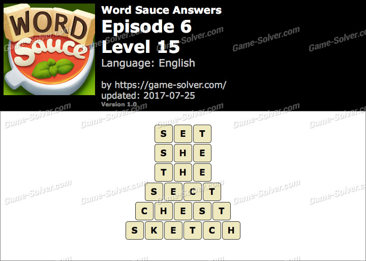 Word Sauce Episode 6-Level 15 Answers