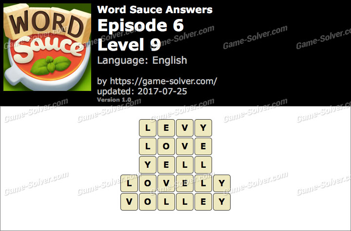 Word Sauce Episode 6-Level 9 Answers
