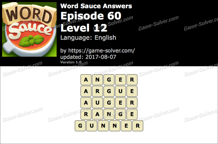 Word Sauce Episode 60-Level 12 Answers