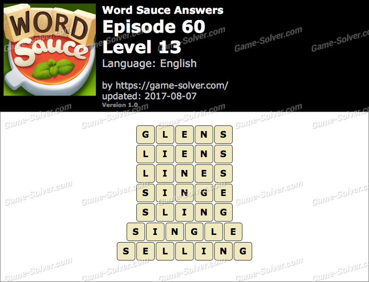 Word Sauce Episode 60-Level 13 Answers