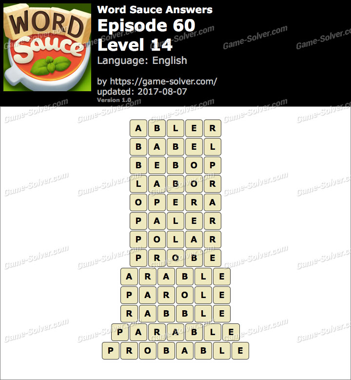 Word Sauce Episode 60-Level 14 Answers