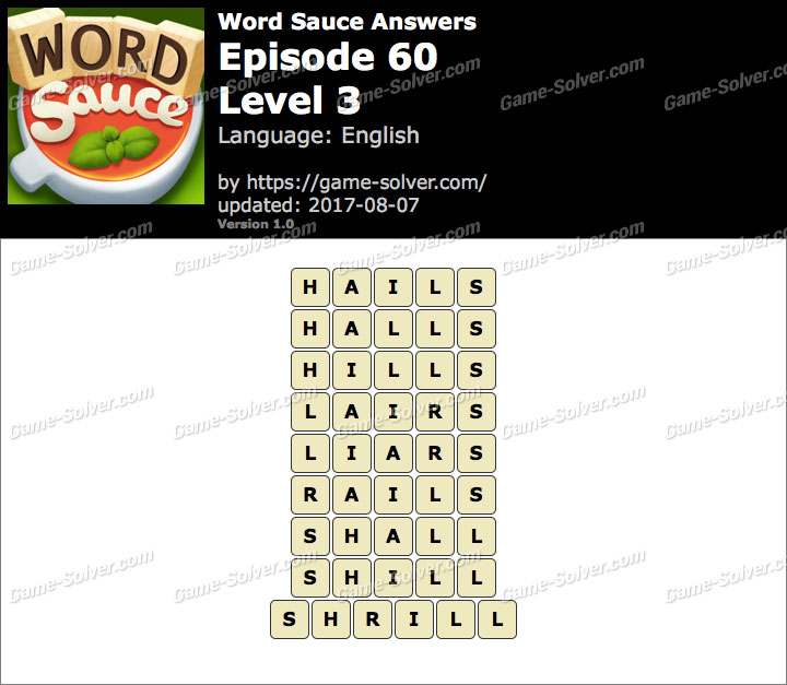 Word Sauce Episode 60-Level 3 Answers