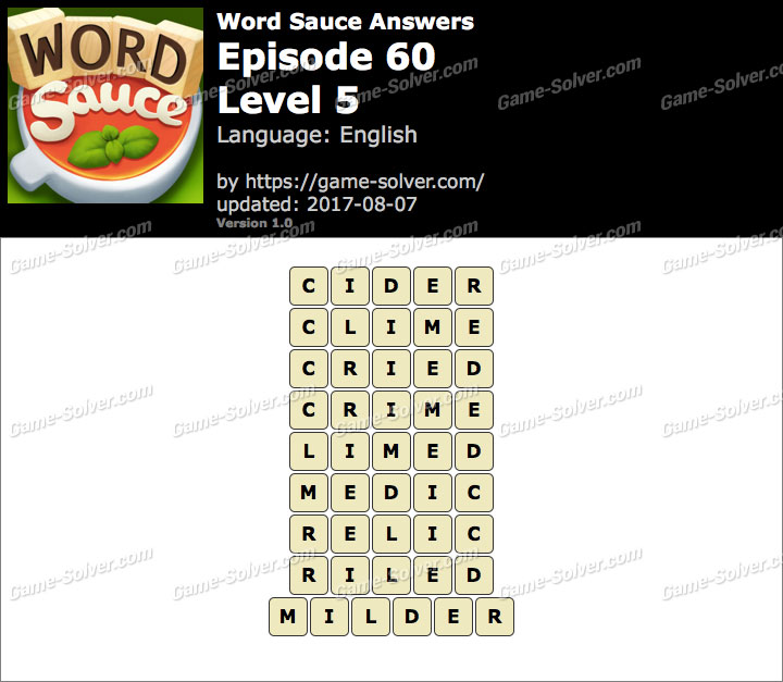 Word Sauce Episode 60-Level 5 Answers