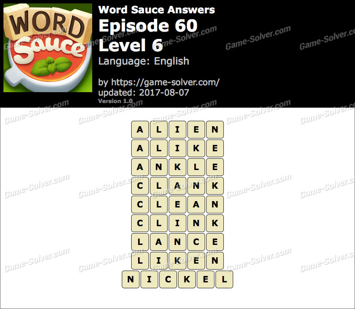 Word Sauce Episode 60-Level 6 Answers