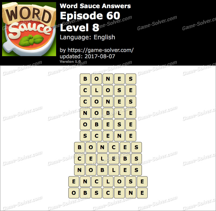 Word Sauce Episode 60-Level 8 Answers