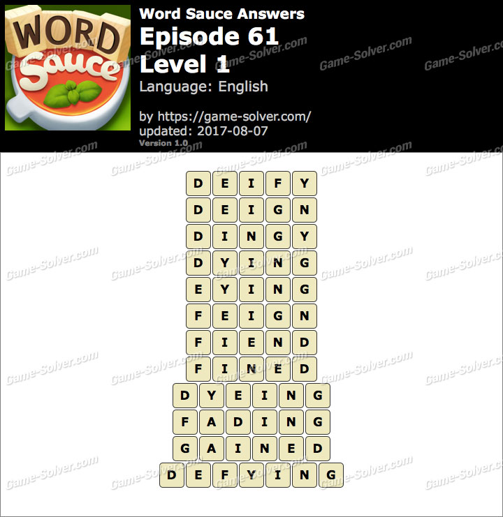 Word Sauce Episode 61-Level 1 Answers