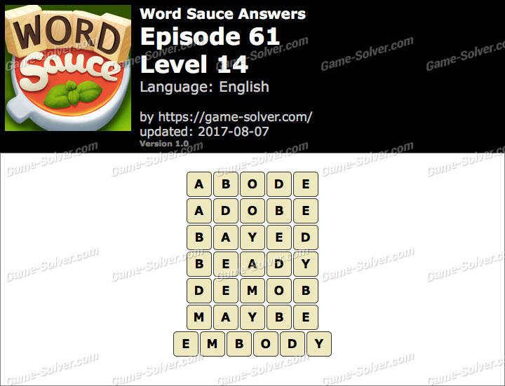 Word Sauce Episode 61-Level 14 Answers