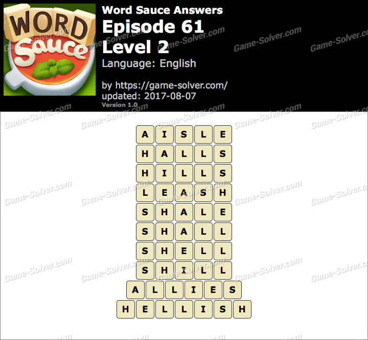 Word Sauce Episode 61-Level 2 Answers