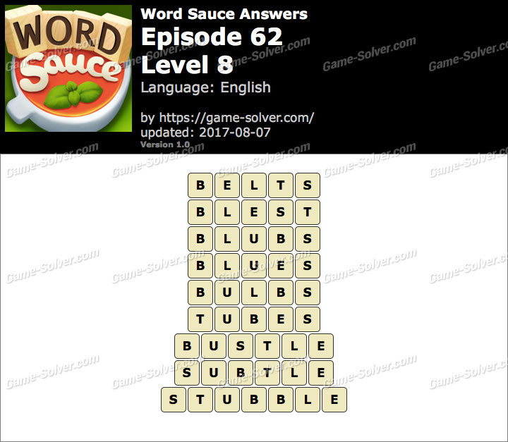 Word Sauce Episode 62-Level 8 Answers