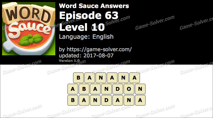 Word Sauce Episode 63-Level 10 Answers