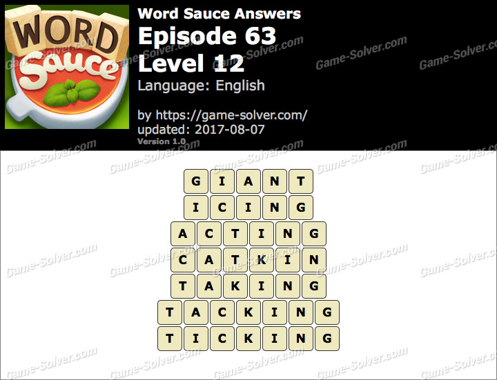 Word Sauce Episode 63-Level 12 Answers