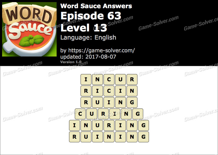 Word Sauce Episode 63-Level 13 Answers