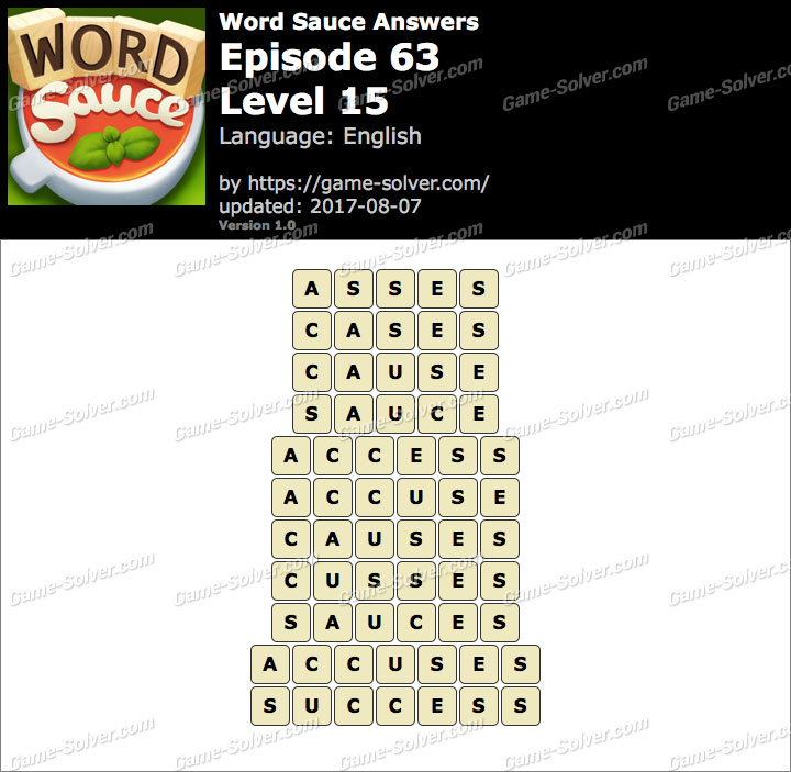 Word Sauce Episode 63-Level 15 Answers