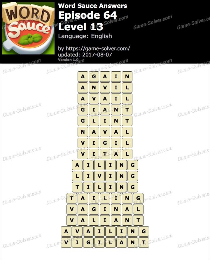 Word Sauce Episode 64-Level 13 Answers