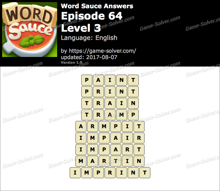 Word Sauce Episode 64-Level 3 Answers