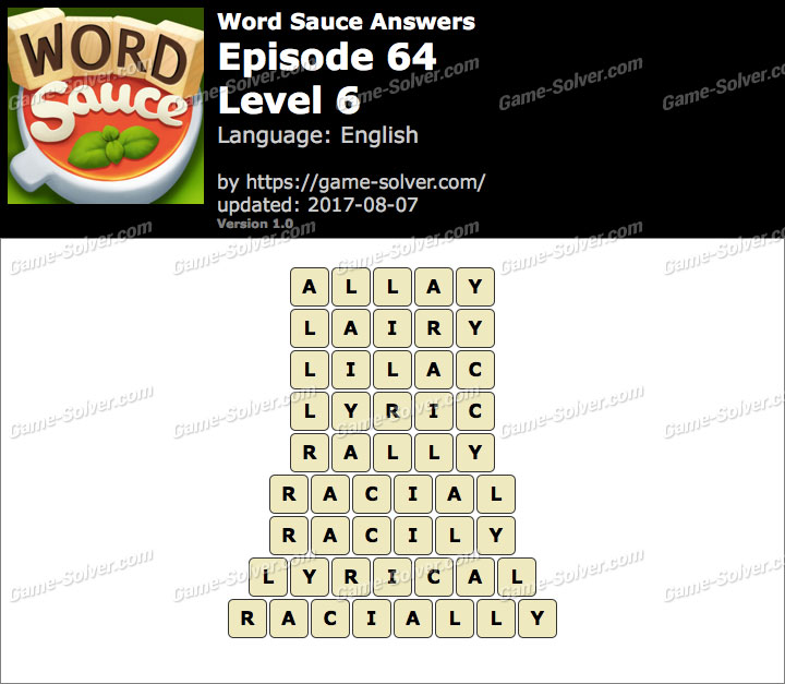 Word Sauce Episode 64-Level 6 Answers