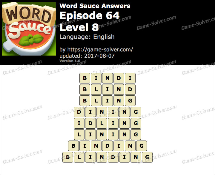 Word Sauce Episode 64-Level 8 Answers