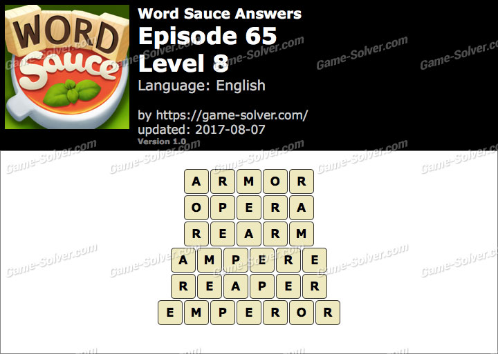 Word Sauce Episode 65-Level 8 Answers