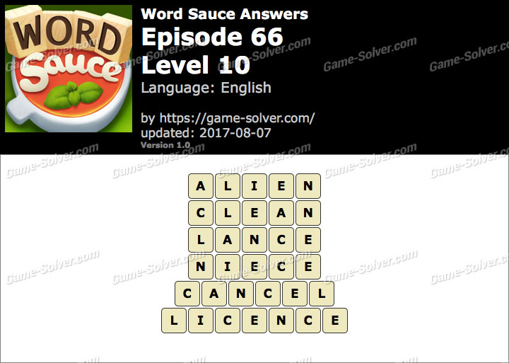 Word Sauce Episode 66-Level 10 Answers