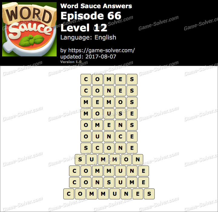 Word Sauce Episode 66-Level 12 Answers
