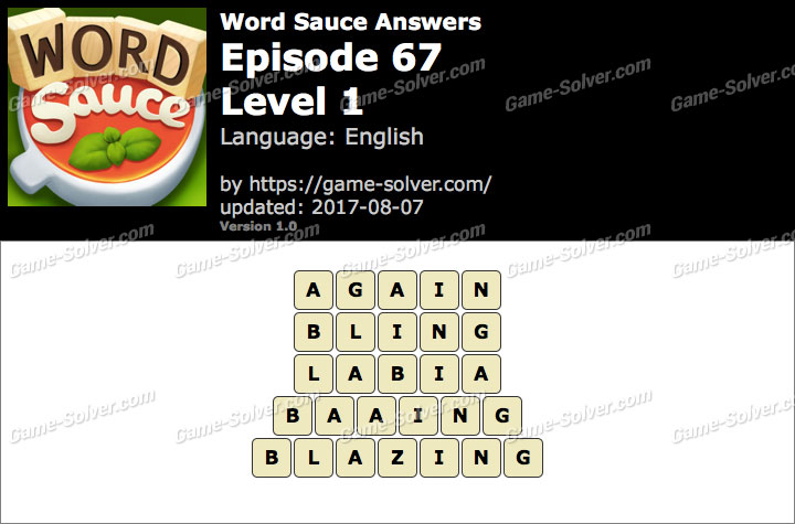 Word Sauce Episode 67-Level 1 Answers