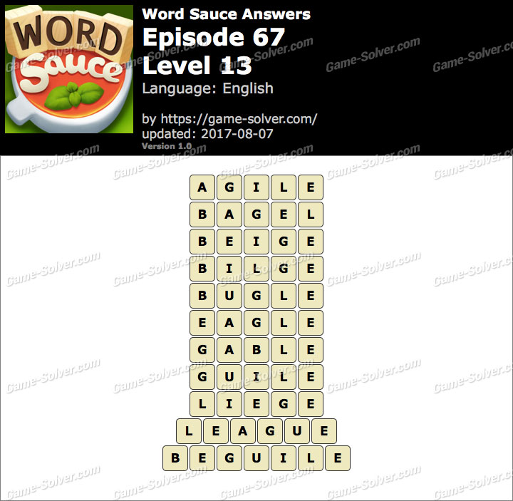 Word Sauce Episode 67-Level 13 Answers
