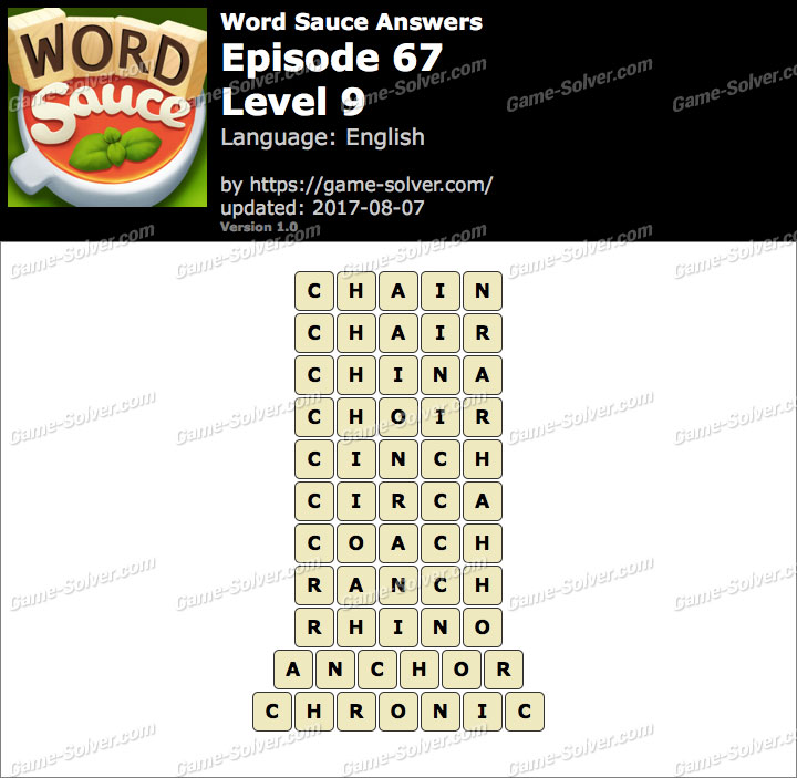 Word Sauce Episode 67-Level 9 Answers