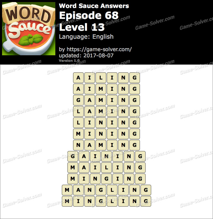 Word Sauce Episode 68-Level 13 Answers