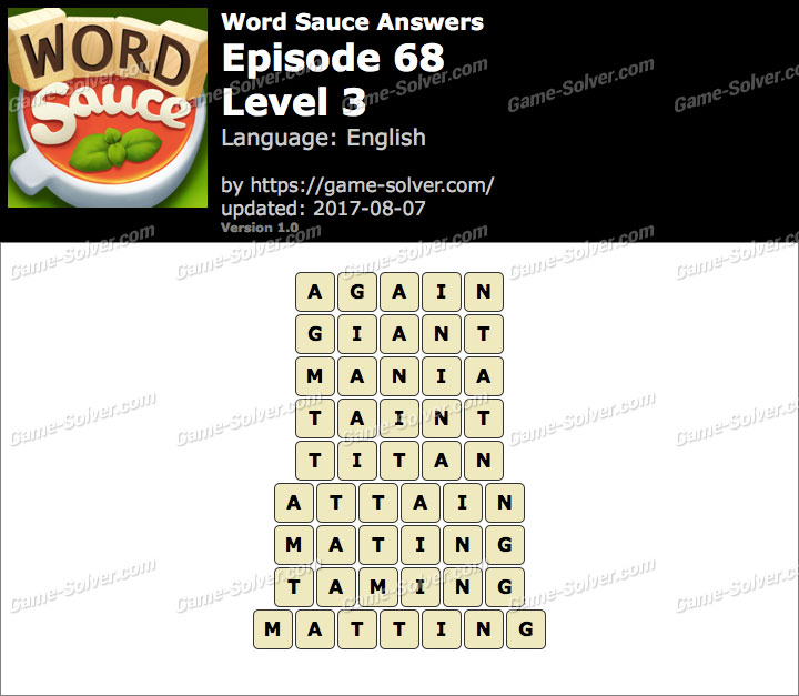 Word Sauce Episode 68-Level 3 Answers