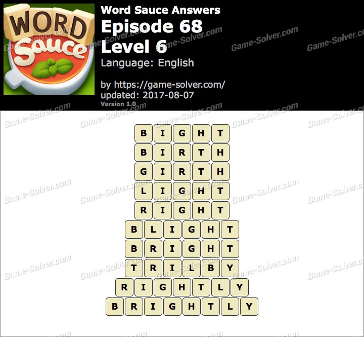 Word Sauce Episode 68-Level 6 Answers