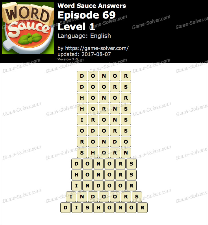 Word Sauce Episode 69-Level 1 Answers