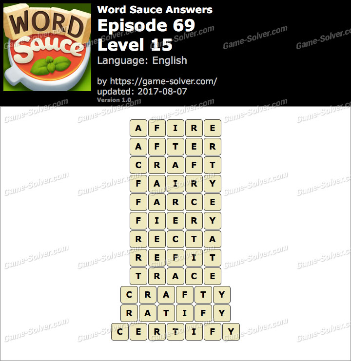 Word Sauce Episode 69-Level 15 Answers