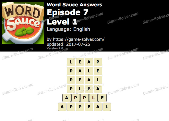 Word Sauce Episode 7-Level 1 Answers