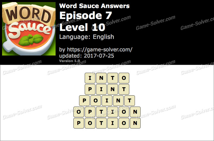 Word Sauce Episode 7-Level 10 Answers