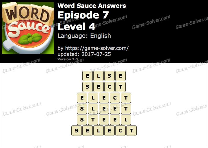 Word Sauce Episode 7-Level 4 Answers