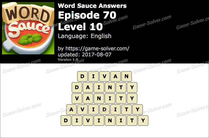 Word Sauce Episode 70-Level 10 Answers