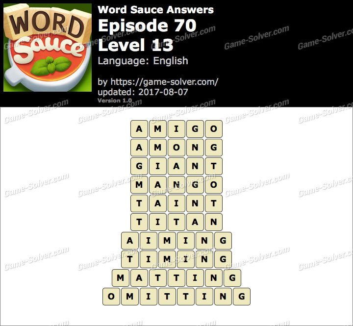 Word Sauce Episode 70-Level 13 Answers