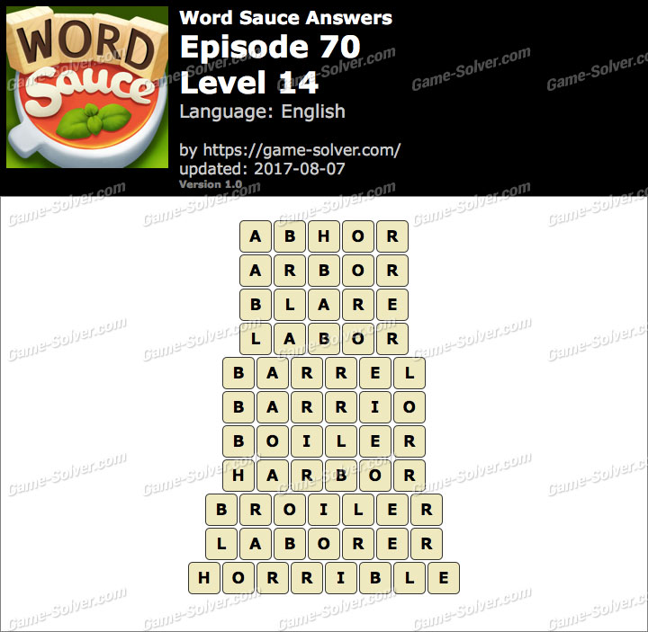 Word Sauce Episode 70-Level 14 Answers