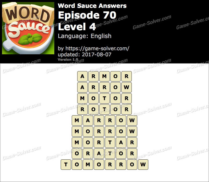 Word Sauce Episode 70-Level 4 Answers