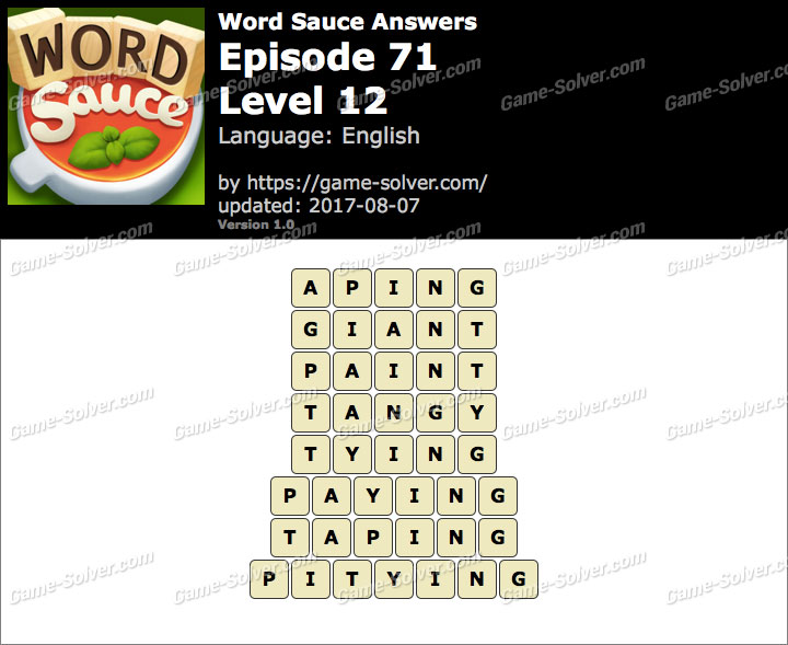 Word Sauce Episode 71-Level 12 Answers