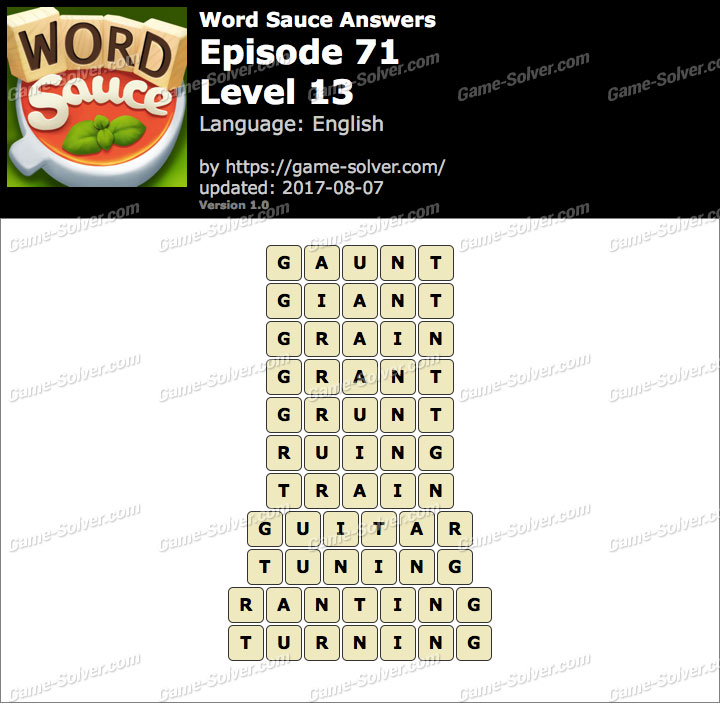 Word Sauce Episode 71-Level 13 Answers