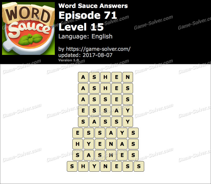 Word Sauce Episode 71-Level 15 Answers