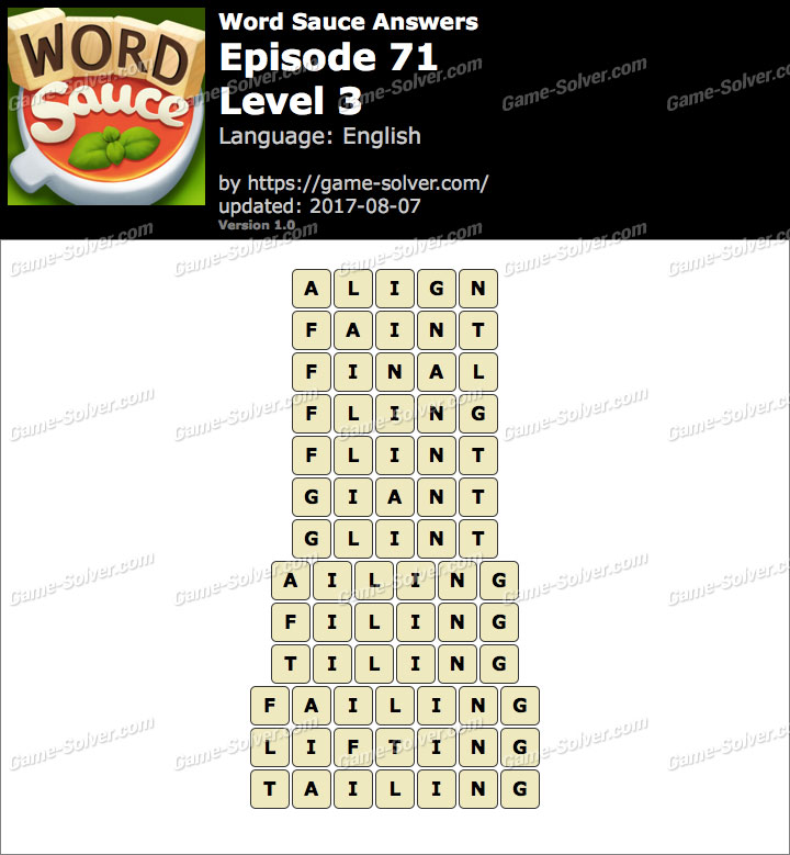 Word Sauce Episode 71-Level 3 Answers
