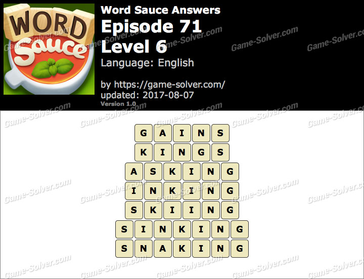 Word Sauce Episode 71-Level 6 Answers