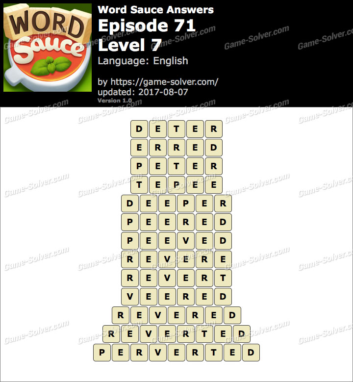 Word Sauce Episode 71-Level 7 Answers