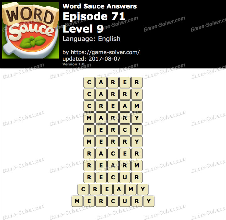Word Sauce Episode 71-Level 9 Answers