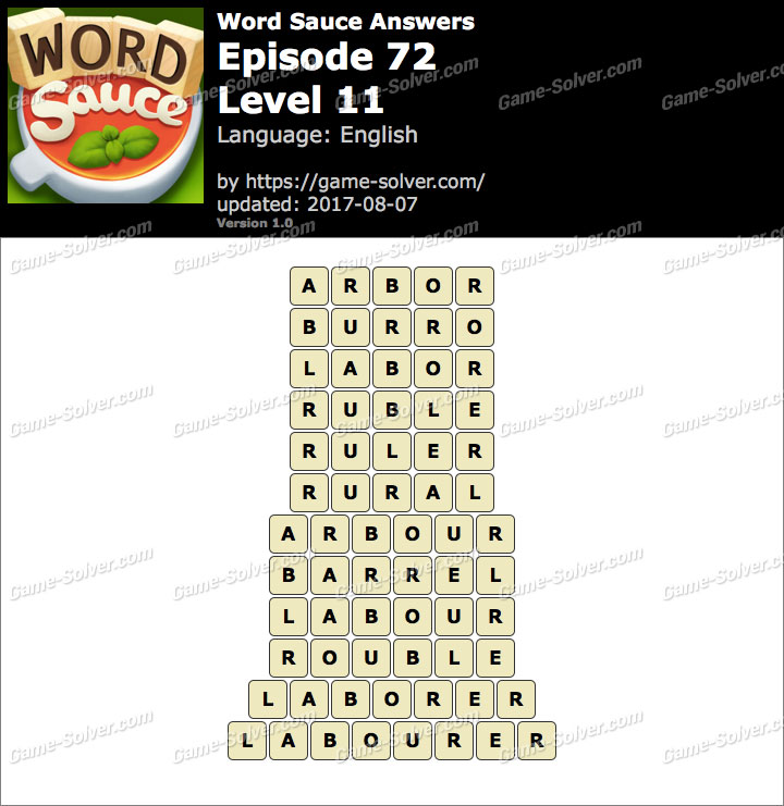 Word Sauce Episode 72-Level 11 Answers